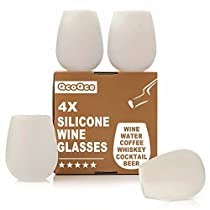 (Set of 4) QcoQce Silicone Wine Glasses, Food Grade Clear Silicone & Dishwasher Safe - Shatterproof Party Cups / Drinkware Set for BBQ, Pool, Camping & Picnics