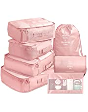 Packing Cubes VAGREEZ 7 Pcs Travel Luggage Packing Organizers Set with Toiletry Bag (Pink)