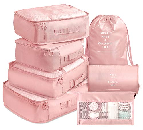 Packing Cubes VAGREEZ 7 Pcs Travel Luggage Packing Organizers Set with Toiletry Bag (Pink) ()