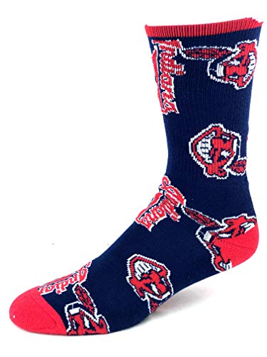 - For Bare Feet MLB Cleveland Indians Navy Repeat Logo Crew Socks - Size Large
