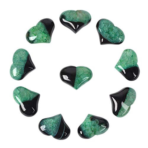 Dyed Green Drusy Druzy Agate Gemstone Healing Crystal 1 inch Mini Puffy Heart Pocket Stone Iron Gift Box (Pack of 10) ()
