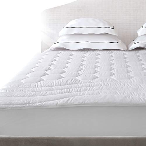 Mattress Pad Queen Size Hypoallergenic Antibacterial Breathable very very soft Quilted Mattress Protector Fitted piece Mattress Cover White by Bedsure