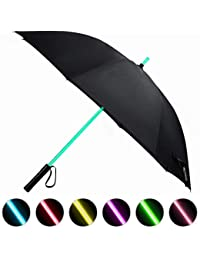 Lightsaber Umbrella LED Light up Golf Umbrellas with 7 Color Changing On The Shaft/Built in Torch at Bottom