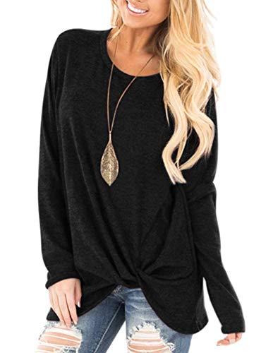 (ZENUTA Women's Casual Long Sleeve Shirt Knot Side Twist Knit Tunic Tops Blouses Black)