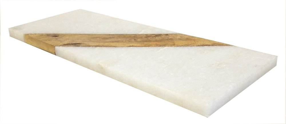 Mountain Woods MARW15 15 X 6 French Marble Stone and Mango Cheese/Cutting Board, 15 X 6 X 1