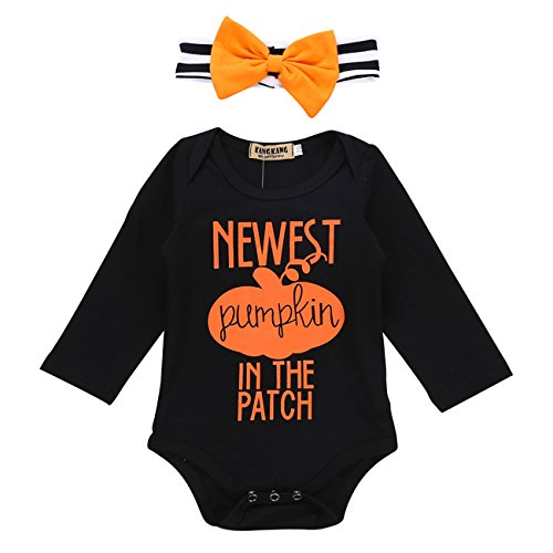 Cenhope Baby Girls Boys Halloween Bodysuit Long Sleeve Romper with Striped Headband (Black, -