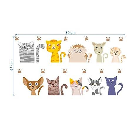 RUQIANGTIE 10 Gatos Encantadores Pegatinas De Pared ...