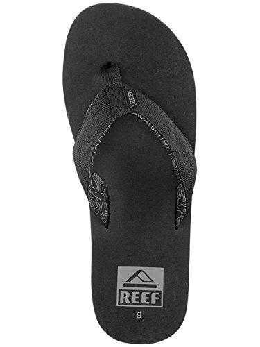 Reef Ponto Prints, Sandalias Flip-Flop para Hombre Negro (Black / Waves)