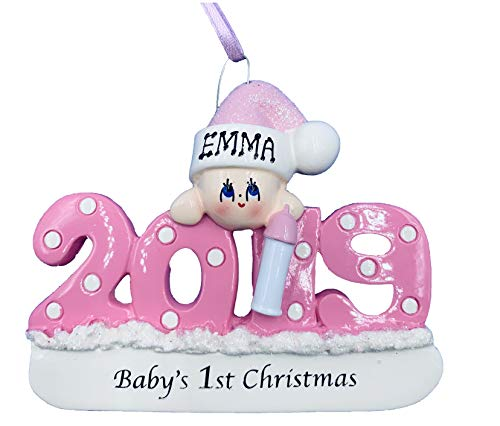 Personalized Baby's First Christmas Girl Pink Ornament 2019