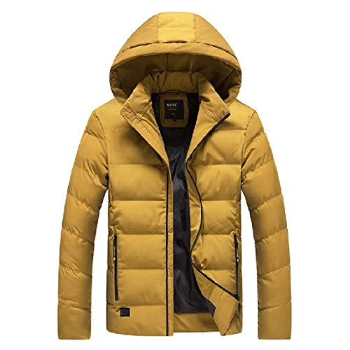 Fit Solid Easy Yellow Coat with Down Relaxed Hoodie Zip Men's RkBaoye UAncYWw