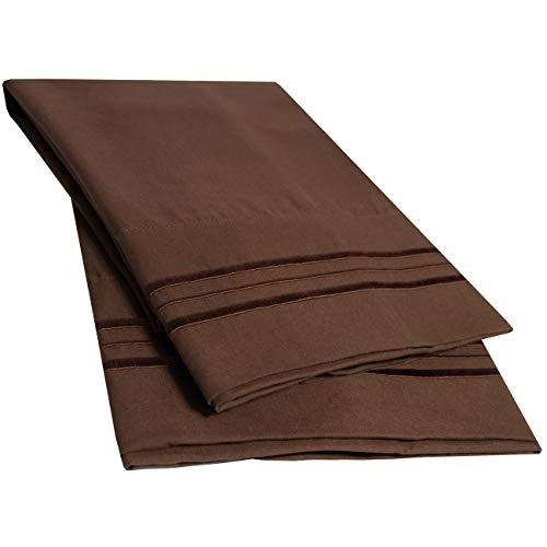 Sweet Home Collection 2 Pack Pillow Case Set 1800 Series Fine Double Brushed Microfiber Triple Marrow Stitch Pillowcases, Standard, Chocolate - Spread Choc