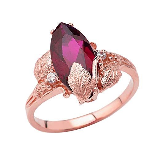 - Dainty 10k Rose Gold Personalized July Birthstone CZ Marquise Leaf Ring (Size 8.5)