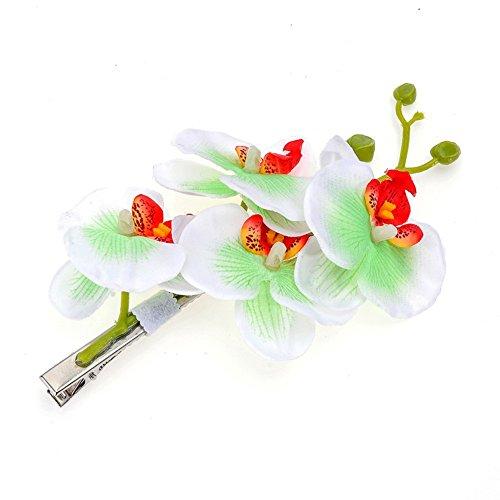 (DreamLily Hawaiian Orchid Flower Hair Clips for Wedding Hair Brooch Hawaii Beach Wearing (White Green))