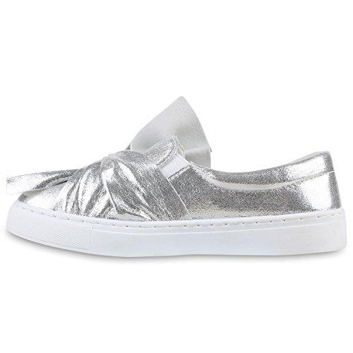 Stiefelparadies Bequeme Damen Slipper Sneaker Slip-Ons Leder-Optik Metallic Schuhe Schleifen Flats Denim Velours Flandell Silber Schleife