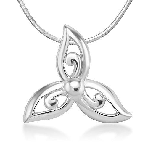 Suvani Jewelry Sterling Silver Celtic Trinity Knot Triquetra Triskelion Trikele Flora Design Pendant Necklace 18