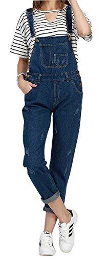 Trademark Global Jean (QZUnique Women's Denim Bib Dungaree Overall Blue US L)