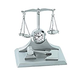 Sanis Enterprises Scales Of Justice Multi Clock, 3 by 3-Inch, Silver