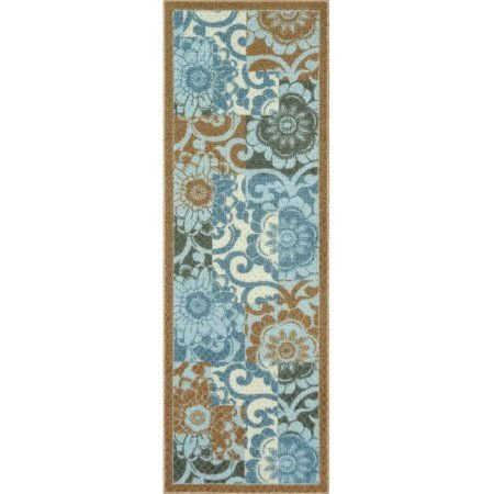 (Pretty Peony Textured Print Runner 2' X 6' Blue)
