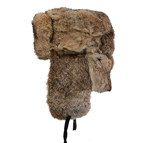 Rabbit Fur Trooper Hat - IFSUN Mens Winter Real Rabbit Fur Aviator Hat Russian Ushanka Hats (Medium/21-22in, Brown)