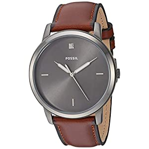 Fossil Men Minimalist Carbon Series Stainless Steel and Leather Diamond Accent Dress Quartz Watch