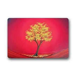 Con diseño de árboles de pintura al óleo machine-wahable non-woven Felpudo para interiores/al aire libre
