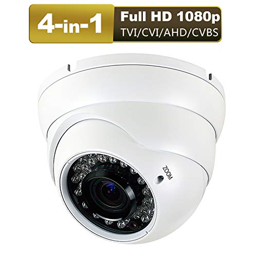 - CCTV Camera HD 1080p 4-in-1 (TVI/AHD/CVI/CVBS) Security Dome Camera Analog 2.8mm-12mm Varifocal Lens 100ft IR Indoor & Outdoor Weatherproof IP66(White)