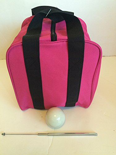 Unique Bocce Accessories Package - Extra Heavy Duty Nylon Bocce Bag (Pink with Black Handles), White pallina, Extendable Measuring Device by BuyBocceBalls