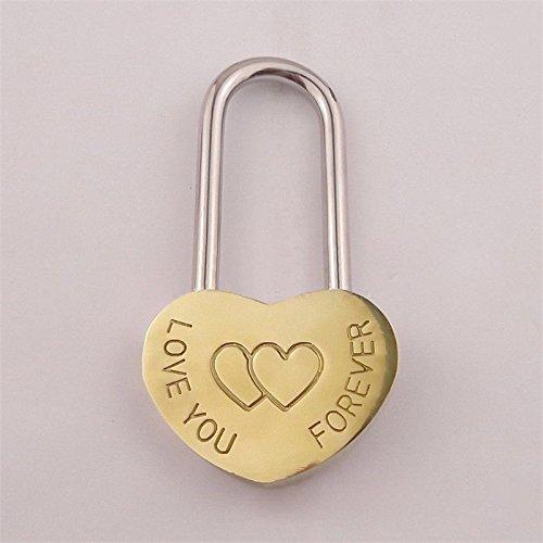 FidgetGear Gold Engraved Personalised Heart Shaped Padlock Solid Love Lock from FidgetGear