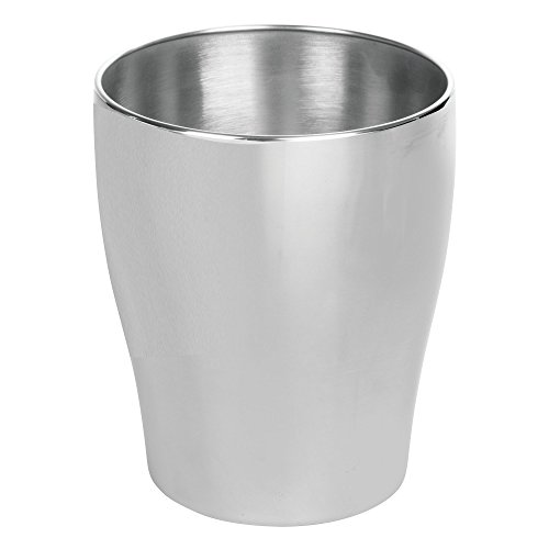 MetroDecor mDesign Round Metal Small Trash Can Wastebasket, Garbage Container Bin for Bathrooms, Kitchens, Home Offices - Durable Stainless Steel Construction with a Brushed Finish