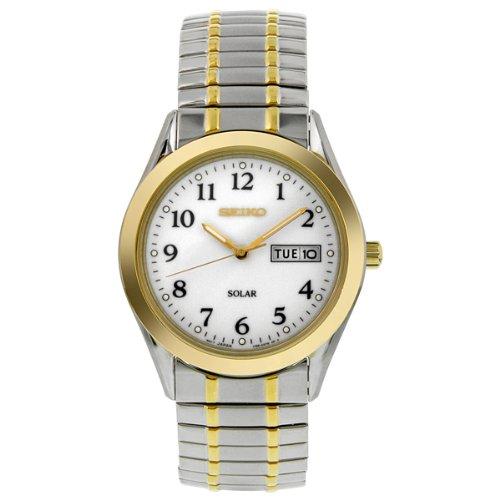2 Tone White Dial (Seiko Men's SNE062 Two-Tone Solar White Dial Watch)