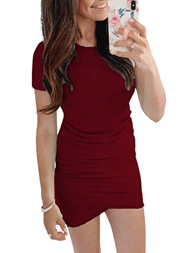 (BTFBM Women's 2019 Casual Crew Neck Ruched Stretchy Bodycon T Shirt Short Mini Dress (104WineRed, Large))