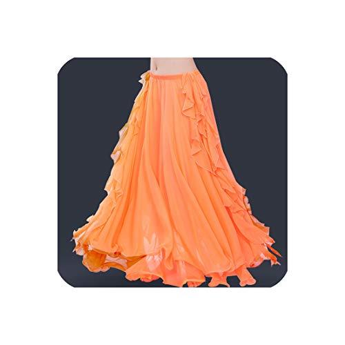 Large Skirts Gypsy Tribal Rumba Dancing Suit Dress Flamingo Belly Dance Wear Double,Orange,S]()