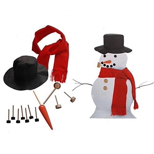 Zamango Snowman Decorating Kit,Winter Outdoor Toys Decoration Hat Scarf Pipe Eyes Mouth Button Nose 13pcs Accessories Included -