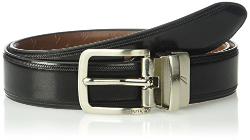 "Nautica Boys 1"" Wide Reversible Belt With Embossed Anchors Black/Brown 24"