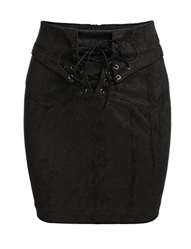 Zeagoo Women's Vintage Lace Up High Waist Bodycon Faux Suede Mini Skirt Black (Genuine Suede Leather Skirt)