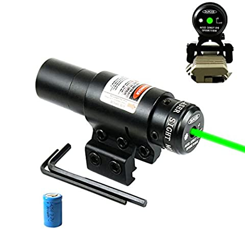 Shockproof Green Laser Sight with 11/20mm Picatinny Rail Mount, for Pistol Handgun Airgun Rifle etc (Green Dot Laser For Gun)