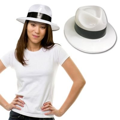 White Plastic Fedoras with Black Band12 ()