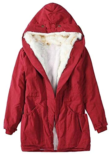 Lined Hood Women's Midlength Plush Down Coat Alternative Fur Fashion Red Jacket EKU Puffer Trim BPwqvqa