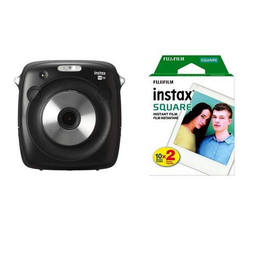 (Fujifilm instax Square SQ10 Hybrid Instant Camera Black instax Square Instant Color Film, Twin Pack)