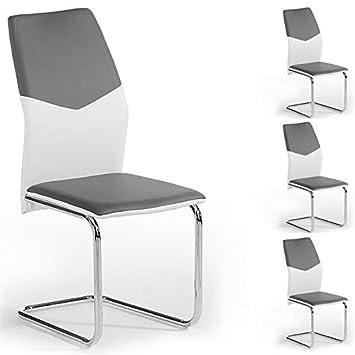 IDIMEX Lot de 4 chaises de Salle à Manger Leona piètement chromé ...