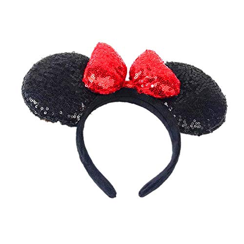 WLFY Mickey Mouse Minnie Mouse Sequin Ears Headbands Butterfly Glitter Hairband (3D black red) for $<!--$16.99-->