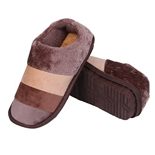 Striped Winter Slippers Foam Mens Slip Coffee Slippers Smiry Shoes Womens Fleece Soft Warm Lined Anti Memory House Indoor Outdoor qxwcaYct6p