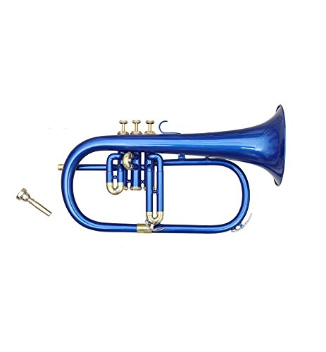 EASTER GIFT FLUGEL HORN 3 VALVE BLUE COLORED +BRASS Bb PITCH WITH CASE AND MP