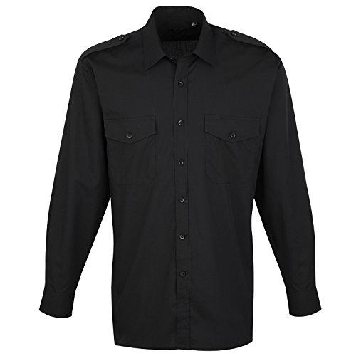 Homme Shirt Sleeved Premier Casual Chemise Pilot Noir Workwear Long Pn01wxqIFv