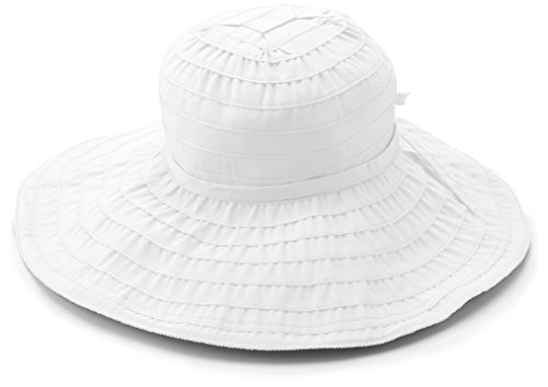 San Diego Hat Company Women's Packable Ribbon Sun hat, White, One Size