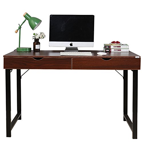 Dland Home Office Computer Desk with 2 Drawers 858-W, Composite Wood Board with Metal Frame, Walnut Black Leg, 47'' Medium Size, 1 Pack by Dland