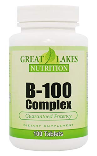 (Vitamin B-100 Complex | Complete Formula B1, B2, B6, B12, Folic Acid, Biotin | Increases Mental & Physical Energy, Supports Brain & Nervous System and Improves Stress & Adrenal Function | 100 Tablets)