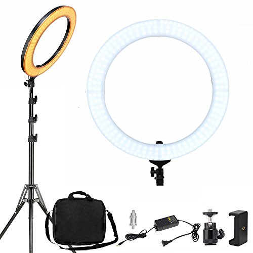 - ZOMEI 18-inch Dimmable LED Ring Light, 2700-5500K Output Photography Lights Professional YouTube Makeup Live Streaming Lighting, Camera Smartphone Video Photo Shoot Lights