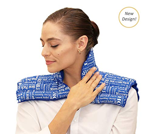 - Heat Therapy Pack – Shoulder and Neck Plus Microwavable Herbal Scented Heating Pads for Muscle Tension, Headaches, Migraines, Stress and Anxiety by HTP Relief (Blue Plus)