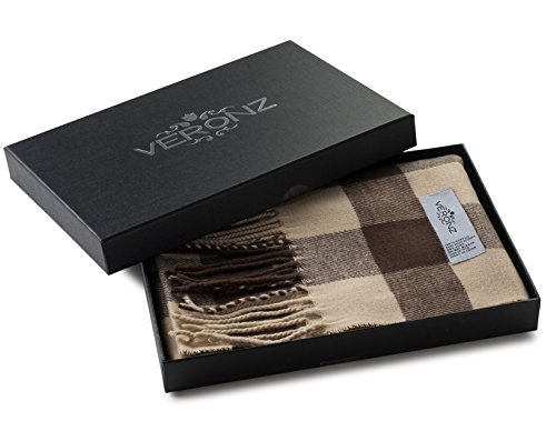 Veronz Super Soft Luxurious Classic Cashmere Feel Winter Scarf (Beige Buffalo Check)